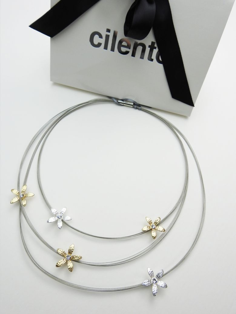 Silver & Gold Flower Detail Necklace
