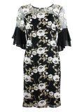 Frank Lyman Black Floral Embroidered Chiffon Frill Dress 198216 BLACK