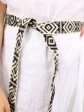 Close up of the belt as part of the Cilento Woman Linen Midi Dress in White