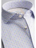 closeup shot of the Eterna 1863 Modern Fit Printed Shirt in the Blue featuring soft collar and printed design