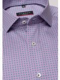 closeup shot of the Eterna Modern Fit Printed Shirt Multi-Coloured featuring hard collar, button fastening