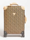 Front shot of Guess Logo Lettering Print Suitcase in Brown