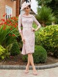 Model wearing Invitations by Veni for Ronald Joyce Drape Neckline Lace Dress in Dusty Pink, Style 991734
