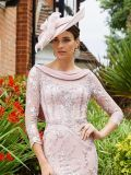 Close up of model wearing Invitations by Veni for Ronald Joyce Drape Neckline Lace Dress in Dusty Pink, Style 991734