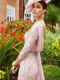 Close up of back of model wearing Invitations by Veni for Ronald Joyce Drape Neckline Lace Dress in Dusty Pink, Style 991734