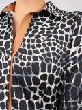Close up of Model wearing K Design Animal Print Maxi Dress in Black