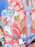 Close up of Model wearing K Design Mediterranean Flower Print Maxi Dress in Multi Colours
