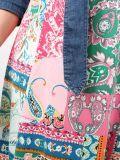 Close up of Model wearing K Design Denim Flower Print Maxi Dress in multi-color