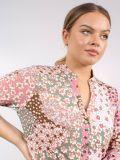 Close up of Model wearing K Design Meadow Flower Print Dress in Pink