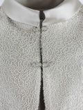 Close up shot of Lexus Dress and Feather Detail Jacket in Beige, Style 1249