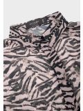 closeup of the Religion Channel Shirt  in the Pink colour featuring shirt collar, animal print, button-through placket
