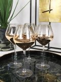 Front shot of the Set of 4 Smoke Wine Glasses on tray