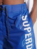 Close up of front logo on Superdry Classic Board Shorts in Cobalt Blue for men
