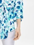 closeup of the Taifun Printed Top in the Blue colour featuring v-neckline, 3/4 length sleeves, waist pull cord