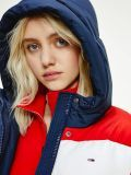 Close up shot of Tommy Jeans Colour-Blocked Belted Down Puffer Jacket in Navy