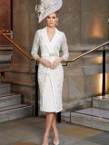 Front shot of Veni Infantino for Ronald Joyce Crepe Lace Fitted Dress, Ivory, Style 991807