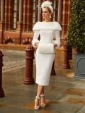 Model wearing Veni Infantino for Ronald Joyce Bateau Neckline Dress with Faux Fur in Ivory, Style 991810