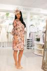 Arggido Floral Print Mesh Overlay Dress Orange in Cilento Designer Wear Department Store.