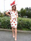 Full-length shot of Arggido Floral Print Midi Dress in Cream and Red