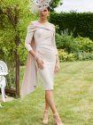 Full-length shot of Veni Infantino for Ronald Joyce Off the Shoulder Dress, Nude, Style 991748