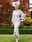 Full-length shot in a garden of Veni Infantino for Ronald Joyce Chiffon Fishtail Dress in Silver, Style 991701